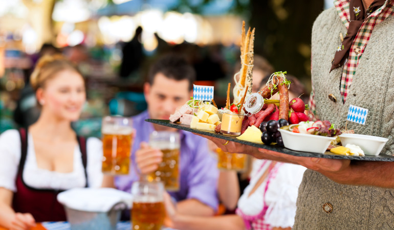 Bavarian specialties at a typical Biergarten
